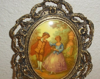 24 KT GF Oval Bubble Glass Romantic Antiqued Brass Victorian Picture Frame 4x5.1/2""