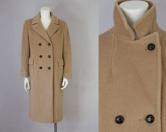 70s Vintage Tan Wool Double Breasted Long Winter Coat (S, M)