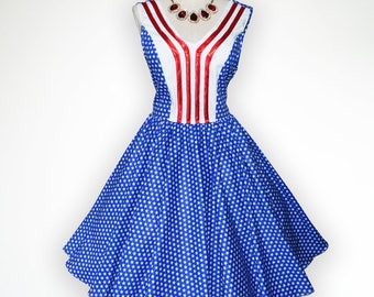 Elegant V neck American Flag Inspiration 50s Pin up Rockabilly Swing Dress Full Swing Skirt
