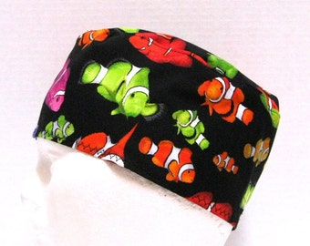 Mens Scrub Hat or Surgical Cap Colorful Clown Fish on Black