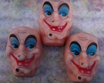 Witch Doll Heads Vintage Soft Plastic