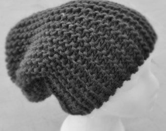 Slouchy Knit Hat,  Army Green Knitted Hat,  Men's Pure Wool Hat, Garter Stitch Slouchy Hat
