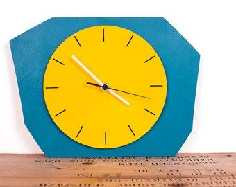 Retro clock, teal and yellow unique clock, wooden clock, kitchen clock