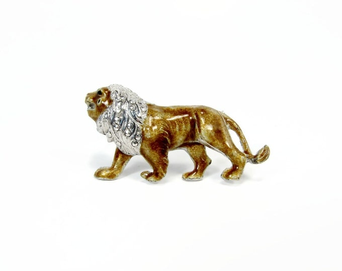 Alice Caviness Sterling Enamel Lion Pin Made in Germany