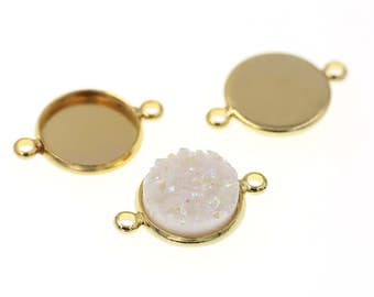 10pcs of 12mm Shiny Gold  Tone Charm Drop Pendant Round Tray Connectors Bezel Blanks, Made with Brass