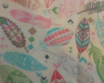 Aztec Feathers  -  FLANNEL Fabric - BTY