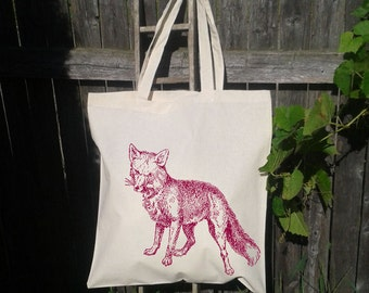 Canvas Tote Bag, Fox, Book bag, Nature Forest Animal