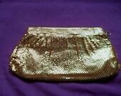 1940s Whiting & Davis CLUTCH PURSE. Gold Mesh Evening Bag. Gold Tone Mesh Clutch Purse. Art Deco Era Purse. Wedding Accessory. Bridal Purse