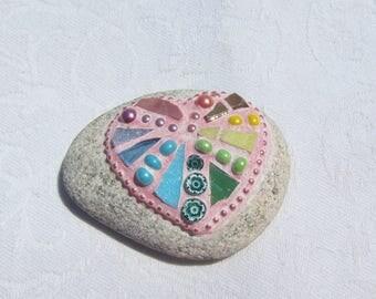 Pastel Rainbow Heart Mosaic Stone