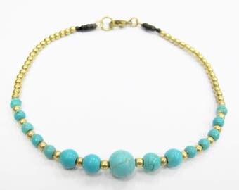 Summer Ankle Bracelet - Turquoise Bead Anklet in Brass Bead.