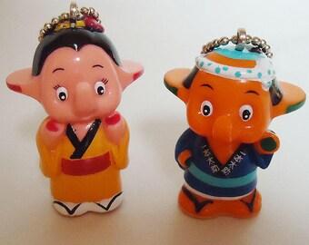 Satokochan & Satochan Elephants Cute Dolls Pendant.Kimono