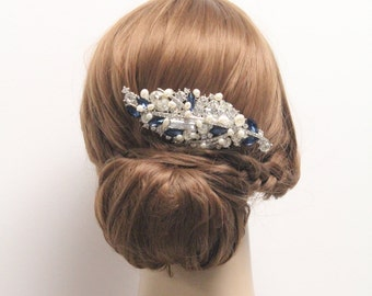 Wedding hair accessories,Montana crystal bridal hair comb,Wedding hair jewellery,Bridal hair comb,Wedding comb,Fresh water pearl hair clip