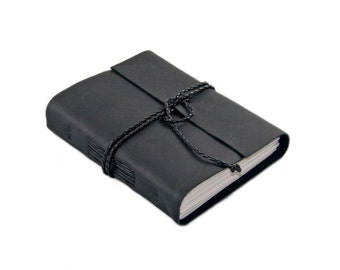 Black Leather Journal with Lined Paper, Wedding Journal, Travelers Journal, Ready to Ship