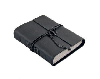Black Leather Journal with Lined Paper, Ready to Ship