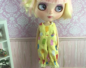 Blythe Romper - Yellow Popsicles and Icecreams
