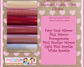 Valentine-Sparkle Vinyl-Glitter Vinyl Variety Pack-FOR EMBROIDERY MACHINES