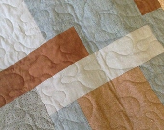 "Brown/Light Blue - 54"" x 76"" - Lizzie's Legacy/Quilting Treasures/Moda-Contemporary/Modern Quilt - Ready to Ship"
