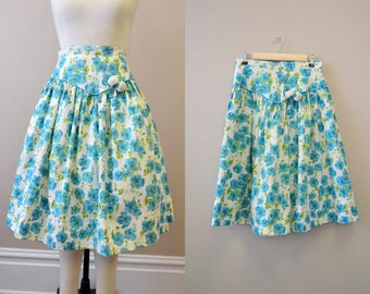 1950s Turquoise Floral Print Skirt