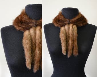 1950s Brown Sable Fur Collar with Tails