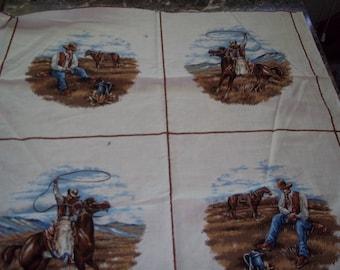 Cowboy fabric vintage panels  Lot #1