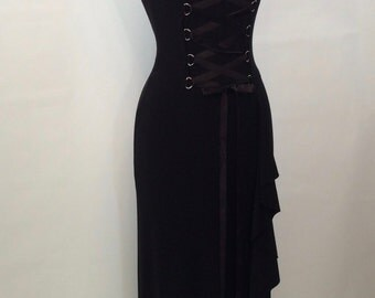 Black Corset Lace Up Front Evening Gown