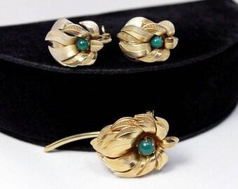 Modernist Flower Brooch and Earring Set, ca. 1950s