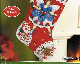 Bucilla Fairy Sweet Felt Christmas Stocking Kit 86439 Candy Gingerbread