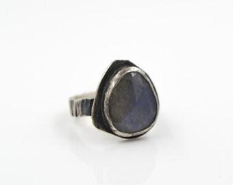 Labradorite Hammered Sterling Silver Ring
