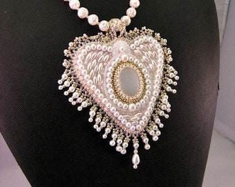 Vintage Pearls, Beaded Heart Fringe Necklace, Wedding Necklace, Embroidered Necklace, Bridal Necklace, Beadwork , Sweet Heart Pendant