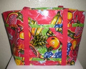 Medium Lined Oilcloth Tote of fruits in red background