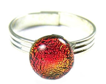 """Dichroic Ring Adjustable Band- Copper Orange Red Rust with Golden Glow Fused Glass - Tiny 1/4"""" 7mm 8mm"""