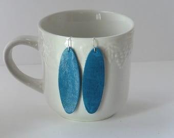 Blue Teal Oval Teardrop Drop Earrings