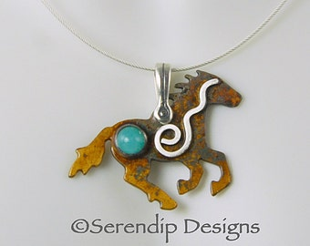 Sterling Silver Wild Mustang Pendant with Amazonite and Spiral, Patina SilverHorse Necklace, Silver Running Horse, Horse Necklace