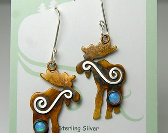 Moose Earrings in Sterling Silver with Patina Opal Mystic Spirals, Montana Moose Earrings, Silver Blue Opal Moose Earrings, Artisan