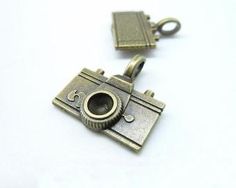 15pcs 21x22mm Antique Bronze  3D  Camera Charms Pendant c5869