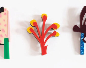 Red and Yellow Wonky Flower Acrylic Brooch - Abstract Floral - Handcrafted - Limited Edition - Hand painted gift box