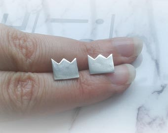 Max's Crown Earrings - Where the Wild Things Are Jewelry - Max Crown Studs - Paper Crown Earrings - Sterling Silver Paper Crown Earrings