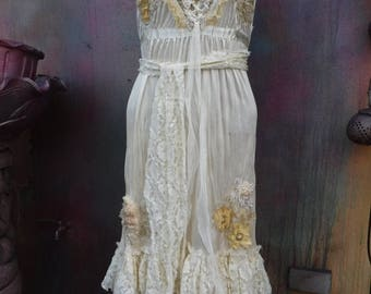20%OFF bohemian dress, wildskin, wedding, bridal, formal, romantic, tattered, fantasy, gold, stevie nicks, boho dress, gypsy dress, M, L,6,8