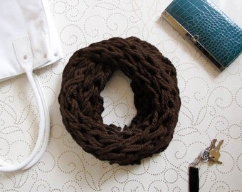 Brown Knit Scarf, Scarf, Chunky Knit, Infinity Scarf, Knit, Knit Cowl, Knitting