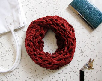 Red Knit Scarf, Scarf, Chunky Knit, Infinity Scarf, Knit, Knit Cowl, Knitting