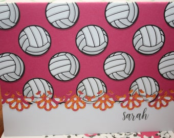 Personalized volleyball themed Note Cards