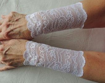 Wide White Stretch Lace Bracelet Cuff, Bridesmaid Bracelet, (Item #11) Bride Victorian Cuff, Wristlet, Wrist Cuff, Tattoo Cover Up, Cuff