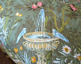 Vintage Garden Scene Lined Curtain Panel with Drapery Hooks Ready to Hang - Birds, Rose Bush, Clouds, Bird Bath, Vase - 4 Panels Available