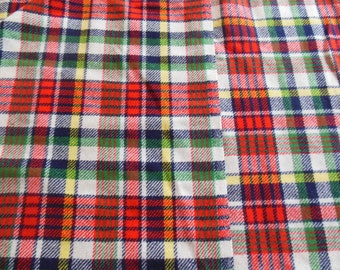 Wool Fabric Piece, Multi-Colored Tartan Plaid Fabric