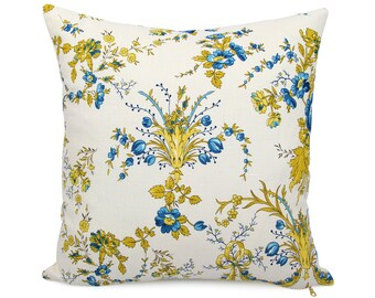 French Provencal Floral Pillow Cover, Shabby Chic Blue Yellow French Country Cushion, Linen Pillowcase, Square and Lumbar, New Valance Ivory