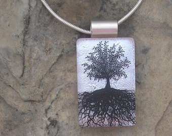 Pink and Silver Tree of Life Necklace Dichroic Fused Glass Tree Pendant