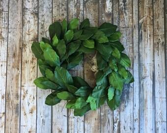 """Dark Green Magnolia Wreath. 24"""" Farmhouse Door Wreath. Green Magnolia Wreaths. All Season Wreath. Fixer Upper Wreath"""