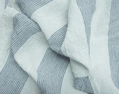 Pure  linen fabric with  small blue stripes on white background-natural fabric-ecofriendly-washed