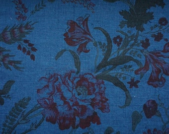 Linen print fabric with romntic flowers #luxury fabric#pre wased# wintage#blue color
