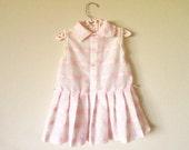 White & Pink Vintage Baby Toddler Girl Dress, 18 24 months